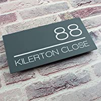 Contemporary Acrylic Floating Rectangular House Sign Plaque - Modern Door Number Plate