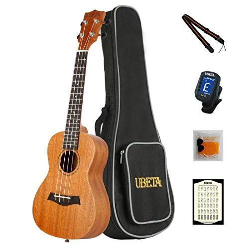 UBETA UC-041 Konzert-Ukulele Mahagoni Aquila Saiten (6 in 1) Kit: Gigbag + clip Tuner + extra Aquila Saiten + Picks + Gurt + card - natürliche Farbe