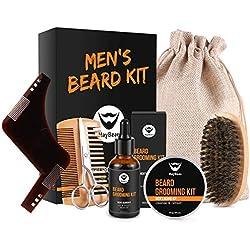 Kit Cuidado de Barba,MayBeau Bálsamo Barba,Barba Champú, Peine para Barba,Tijeras Barba Juego de regalo perfecto para hombres