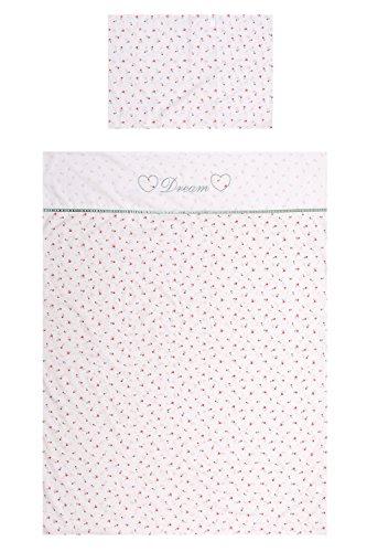 Briljant Baby Bettdeckenbezug FLEUR 100 x 135 cm, Kopfkissenbezug 40 x 60 cm, Rosa