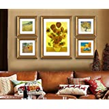 ABM Home - girasol de Van Gogh (oro, 79 cm x 150 cm / Set / 5 piezas Set) arte de la pared, el marco grande cuadro de la pared, estilo de la vendimia, de pared, enmarcado de la lona, cartel grande