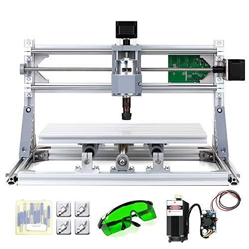 KKmoon DIY CNC Router-Set, 2-in-1, Mini Laser Gravur, GRBL Kontrolle, 3 Achsen für PCB PVC Kunststoff Acryl Skulptur Holz Fräse Gravur Maschine mit ER11 Schutzbrille