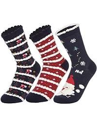 Lukis Damen Socken 3 Paare Baumwolle Thermosocken Weihnachtssocken Größe 34-42