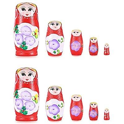 Neewer® 2 Pack handbemalte Verschachtelung Matrjoschka Puppen 5 teiliges Set, tolles Geschenk für Freunde und Kinder