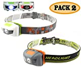 Pack 2.Y02 Waterproof White+Red Light Headlamp,4 Brightness Level Choice,160 Lumens,50g Weight,Comfortable Head Torch,Money Back Guarantee.