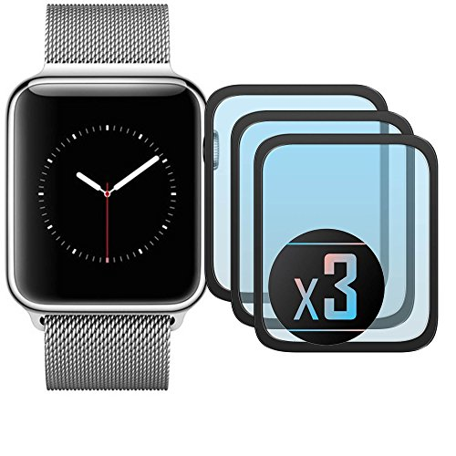 3 x Cristal Templado Protector de Pantalla Para iWatch 42 mm (Black)- NEVEQ® Vidrio Templado, el Apple iWatch 42 mm Full Screen Black (42 mm) Pulgadas piel Protectora de la Cubierta.