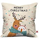 Indigifts Micro Satin Merry Christmas Printed White Cushion Cover 12x12 inches with Filler