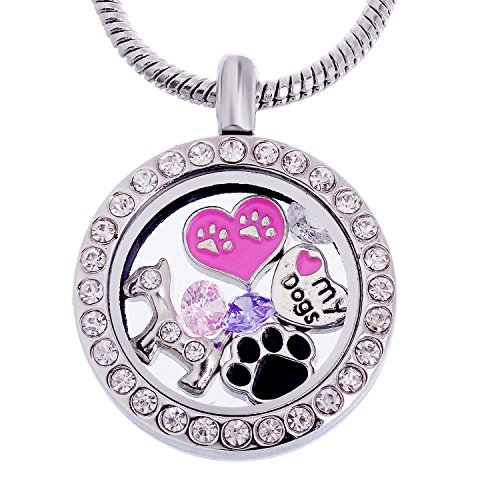 rubyca Mottoparty rund Medaillon Halskette Kristall Geburtsstein Living Memory Floating Charm Silber Ton DIY I Love My Dog - Round Locket with Crystals (Dog Memory-halskette)