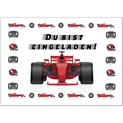 16 Einladungskarten zum Kindergeburtstag Motiv: Formel 1 Rennauto - Einladungen für Kinder zum Geburtstag im Set