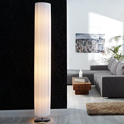 lounge-zone Design Stehleuchte Leuchte Lampe Stehlampe SALONA Art Deco Stil Plissee weiß Fuß chrom 200cm Höhe 13312