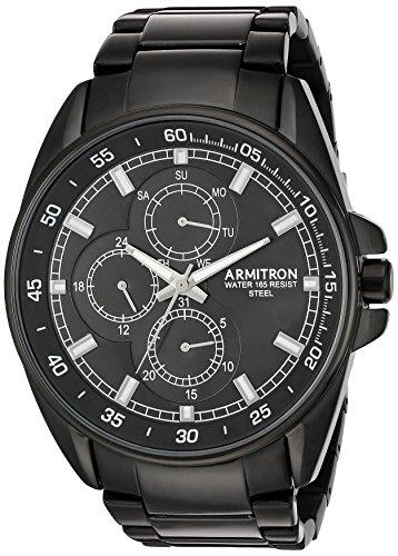 Armitron Men's Quartz Stainless Steel Dress Watch, Color Black (Model: 20/5224BKTI)