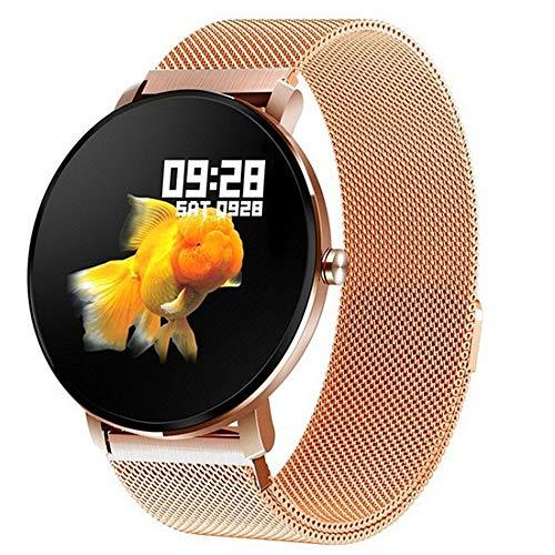 h 1,3-Zoll-Frauen-Mann-voller Touch Screen intelligente Uhr-Eignungs-Verfolger-Männer IP68 wasserdicht,Gold ()