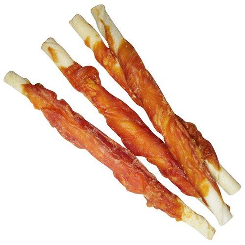 Hähnchenfilet Stangen 600g Schonend getrocknet fettarm gut bekömmlich der Kauknochen für Hunde aus Büffelhaut umwickelt mit frischem Hähnchenfilet Fleisch Dörrfleisch der Extra Klasse Hundesnacks - 2