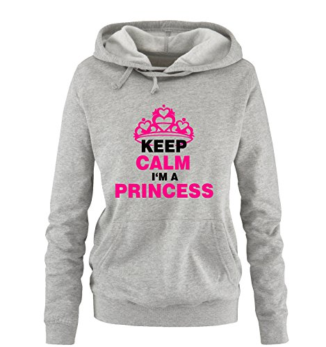 Comedy Shirts - KEEP CALM I´M A PRINCESS - Donna Hoodie cappuccio sweater - taglia S-XL vari colori grigio / nero-fucsia