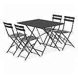 Salon de Jardin bistrot Pliable - Emilia rectangulaire Gris Anthracite - Table 110x70cm avec Quatre chaises Pliantes, Acier thermolaqué