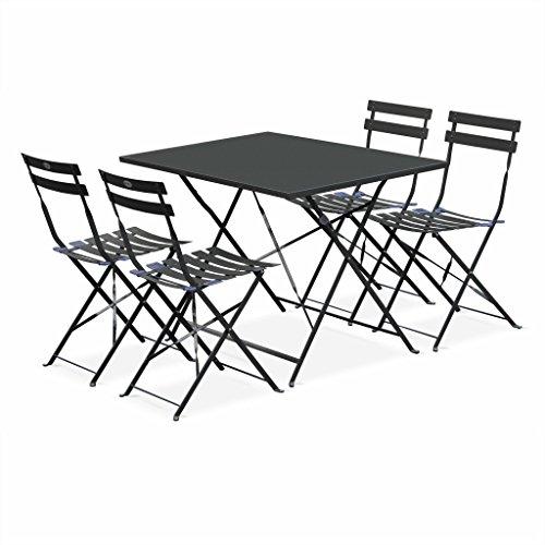 Alice's Garden - Salon de Jardin bistrot Pliable - Emilia rectangulaire Gris Anthracite - Table 110x70cm avec Quatre chaises Pliantes, Acier thermolaqué