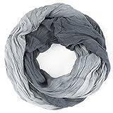 DISTRESSED Crinkle Rundschal Farbverlauf Schlauchschal FrŸhling/Sommer Damen Halstuch - viele Farben grau