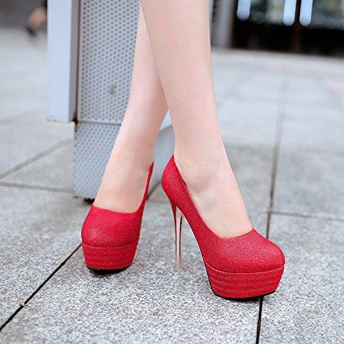 Mee Shoes Damen Stiletto Geschlossen runde Plateau Pumps Rot