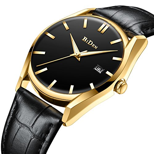 Mens Simple Design Watches Black Men 30M Waterproof Luxury Date Calendar Wrist Watch Gents Business Casual Fashion Dress Analogue Quartz Watches with Black Dial Genuine Leather Strap