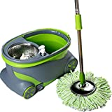 XTELARY New 360° Spinning Mop Wheels Stainless Steel Spin-Dry Bucket with 2 Mop Heads Free