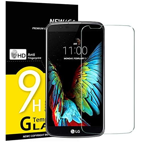 NEW'C Lot de 3, Verre Trempé pour LG K10, Film Protection écran - Anti Rayures - sans Bulles d'air -Ultra Résistant (0,33mm HD Ultra Transparent) Dureté 9H Glass