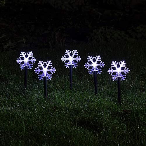 Lights4fun 5er Set Acryl Schneeflocken Weihnachtsbeleuchtung außen Batteriebetrieb
