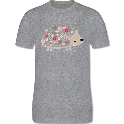 Ostern - Süßer Igel - Frühlingstiere mit Blumen - Herren Premium T-Shirt Grau Meliert