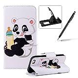 Schönen Bunte Kunst Gemalt Design PU Leder Tasche Hülle für iPhone 5S SE 5, Herzzer Handyhülle Flip Wallet Cover Wei