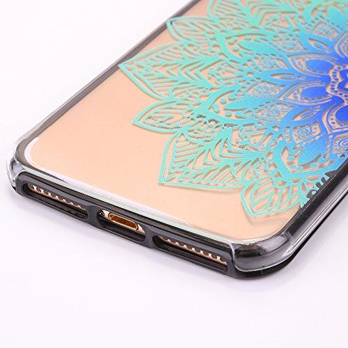 Custodia Cover iPhone 7/8 plus Silicone ,Ukayfe UltraSlim 2 in 1 Case per iPhone 7/8 plus in Gel TPU Custodia Morbida Soft Trasparente e Cristallo Protettiva Cover Resistente ai Graffi Anti Scivolo Ca Fiore blu