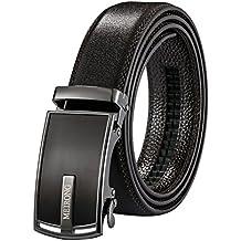 Cintura in Pelle Per Gli Uomini - Fibbia Automatica Cricchetto Scivolo Holeless - Lunga 130 Centimetri Confezione Regalo