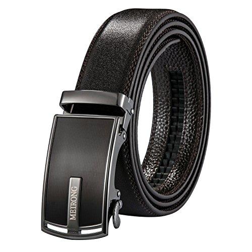 Ledergürtel für Männer - Automatische Gürtelschnalle mit Sperrklinke und keinem Loch - Geschenkpackung von 130 cm. (Zip Scully)