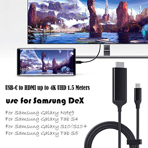htfrgeds USB C auf Displayport kabel 4K,Power Charging(PD) Dex Station Für Samsung Note 9 DeX Adapterkabel USB-C Switch DP Monitor,TV (1.5m Display Port adapter Dock Cord) Audio Out Dock