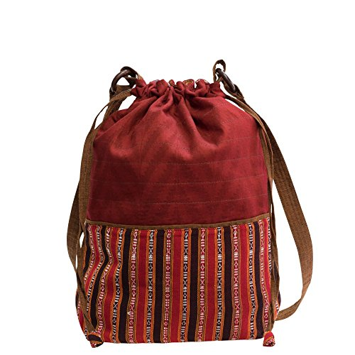 manbefair Fair Trade Baumwoll Schultertasche Shopper Honey Umhängetasche Hobo Bag Tasche 32x40 cm (BxH) (Rot) (Honey Hobo)
