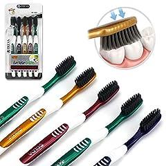 Idea Regalo - AOLEVA 5 pezzi Spazzolini da denti Manuale Classic Ultra Soft Medio Spazzolino da Viaggio