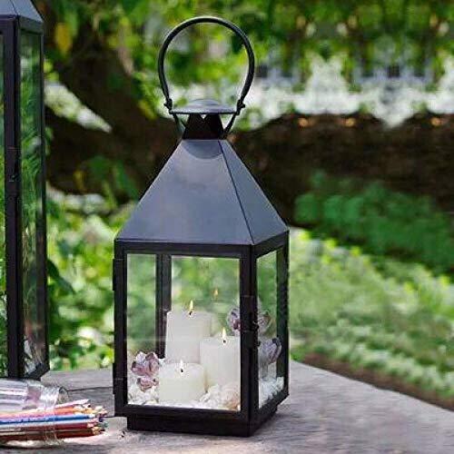 YXSHHHL Eisenwindlicht im Freien große schmiedeeiserne Windlampe Kerzenständer Dekoration Gartendekoration Handwerk Glas Laterne @ Black L: 23 * 23 * 53