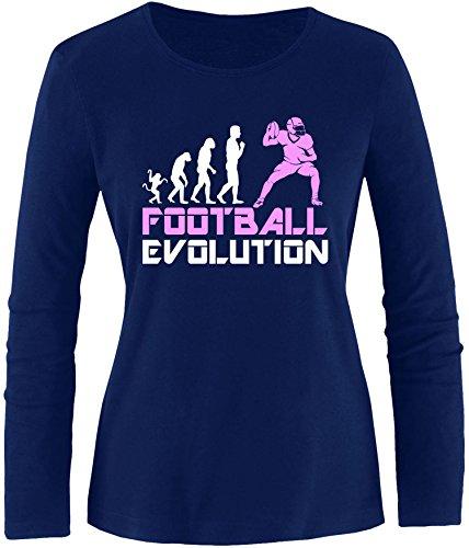 EZYshirt® Football Evolution Damen Longsleeve Navy/Weiss/Rosa