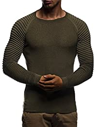 LEIF NELSON Men's Pullover Knit Sweater Hoodie Basic Round Neck Crew Neck Sweatshirt Long Sleeve Sweater Feinstrick LN20729