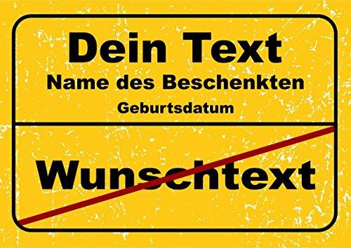 Ortsschild aus Aluminium in DIN A5, A4 und DIN A3 Geburtstag Deko Geschenk Verkehrsschild , Schildausführung:Freie Textwahl;Größe:A3 - 420 x 297