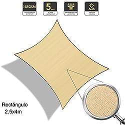 Sunnylaxx Vela de Sombra Rectangular 2.5 x 4 Metros, toldo Resistente y Transpirable, para Exteriores, jardín, Color Arena