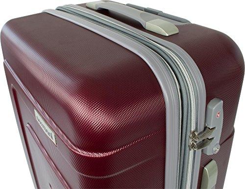 Extrem Stabiles ABS Kofferset | Stoßfest Zahlenschloss Leichtlauf-Fahrwerk mit vier 360° drehbaren, kugelgelagerten Rädern New/Generation/Burgund/Grau