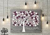 80x60 cm ab 130 bis 200 Gäste Gästebuch Hochzeitsbaum von CristalPainting Wedding Tree, Rustikales Gästebuch, Leinwanddruck Baum, Keilrahmen und Holz Motiv cm