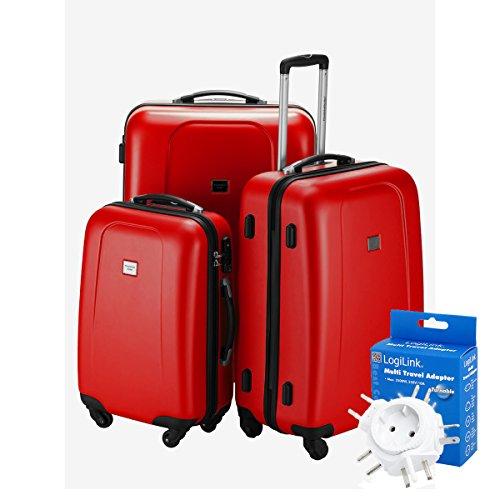 HAUPTSTADTKOFFER® 3er Kofferset · WEDDING · TSA · MATT · (in versch. Farben) + REISEADAPTER (Schwarz) Rot