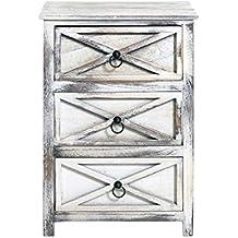 Cajonera vertical chic estilo vintage blanca effecto envejecido 3 cajones por baño, sala de estar y cocina Cod. x-9015