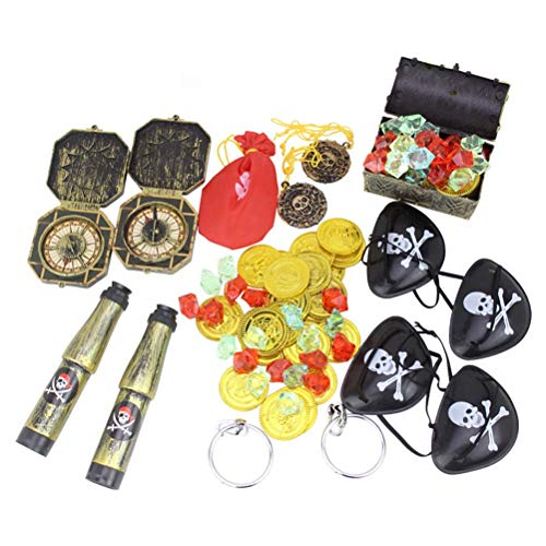 TOYMYTOY Piraten Schatz Spielzeug | Pirat Cosplay Dress Up Requisiten Mini Pirate Treasure Box, Packung mit 60 Stück