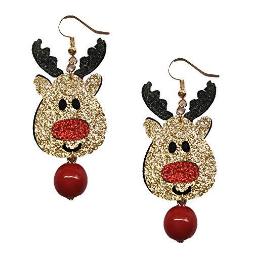 Setsail Damenmode niedlich europäischen und amerikanischen Weihnachtsschmuck Ohrringe, Weihnachtsbaum Ohrringe Schmuck, Elch Schneeflocke Ohrringe (B)