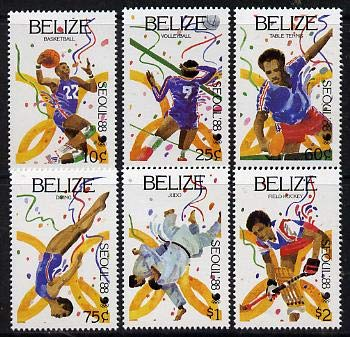 Belize 1988 Seoul Olympic Games perf set of 6 u/m SG 1038-43 OLYMPICS BASKETBALL VOLLEYBALL TABLE TENNIS DIVING JUDO HOCKEY FIELD HOCKEY MARTIAL ARTS JandRStamps