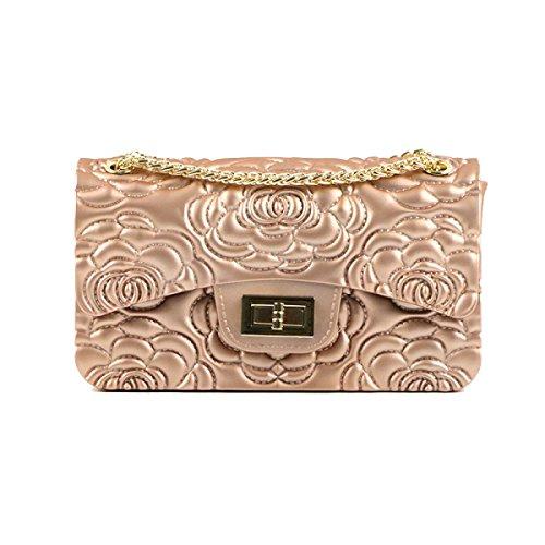Yy.f Moda Pvc Borse Grande Magia Di Rose In Rilievo Opaco Satinato Jumbo Messenger Bag Catena Messenger Oro A 3 Colori