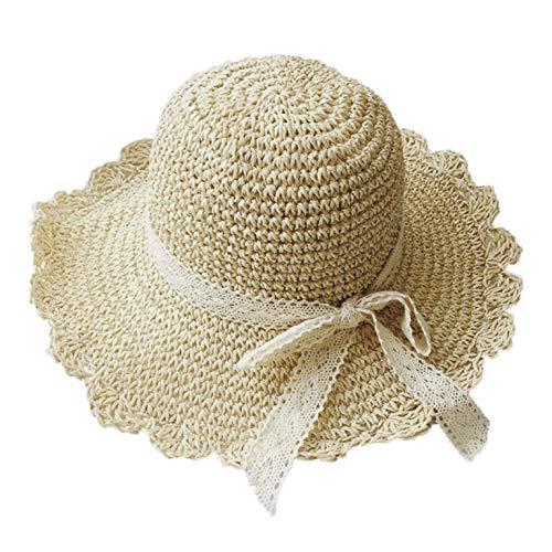 RUIXIB Damen faltender Strohhut Sonnenhut Strandhut Sommer-Faltbar Spitzenbogen Visier mit weitem Saum