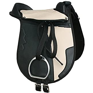 'juna children's pony hide covered pony pad set black/beige with stirrups and stirrup leathers and saddle strap also suitable for wooden horse saddle set 'Juna Children's Pony Hide Covered Pony Pad Set Black/Beige with Stirrups and Stirrup Leathers and Saddle Strap Also Suitable for Wooden Horse Saddle Set 51IkYroO8wL