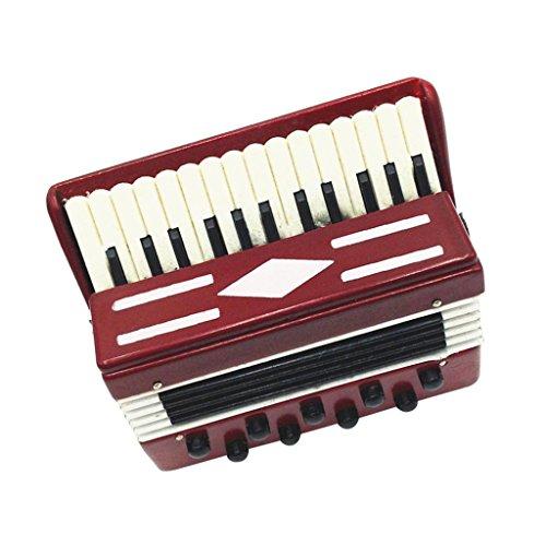MagiDeal Juegos de Dollhouse Regalo de Colección Instrumento Musical Acordeón Madera